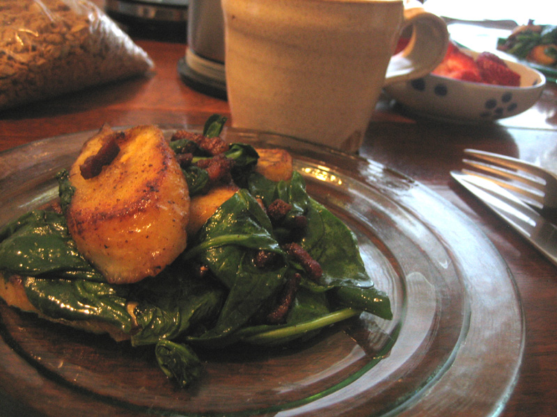 Plantains with Wilted Spinach and Pancetta