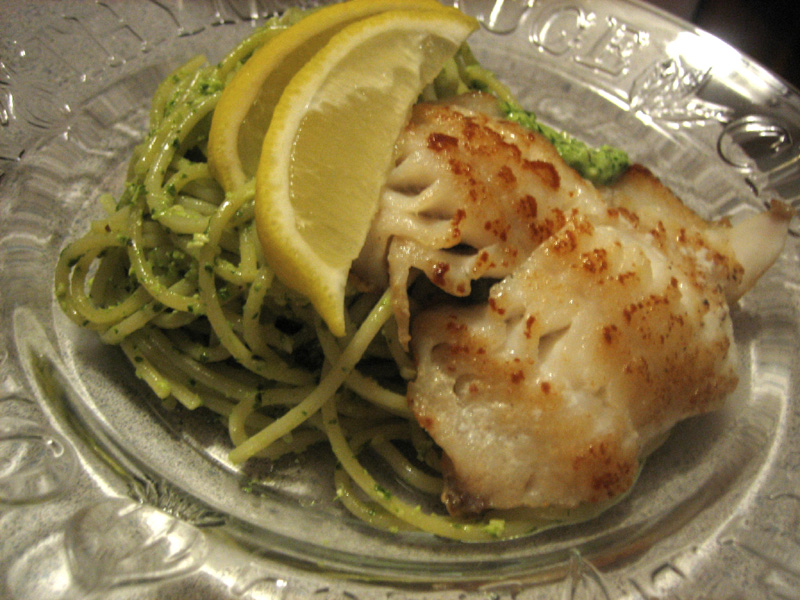 Spaghetti with Ligurian Pesto & Pan-Seared Rockfish