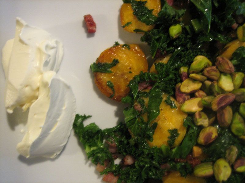 Plantains with Kale and Pancetta