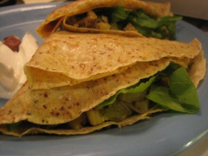 Hazelnut Crepes with Leek & New Potato Filling, Arugula, & Creme Fraiche