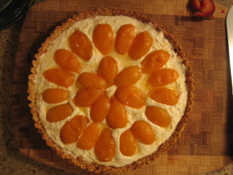 Apricot Tart with Ricotta Marscapone Nut crust