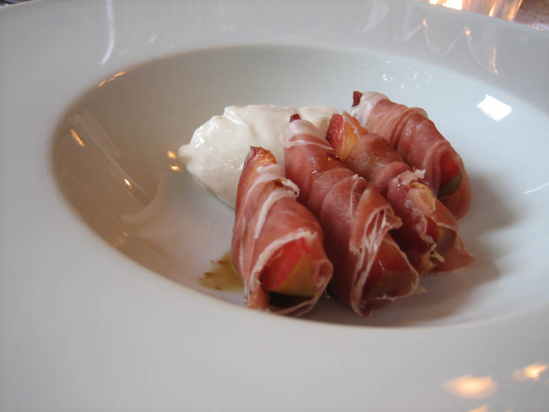 prosciutto wrapped pluot with balsamico and burrata