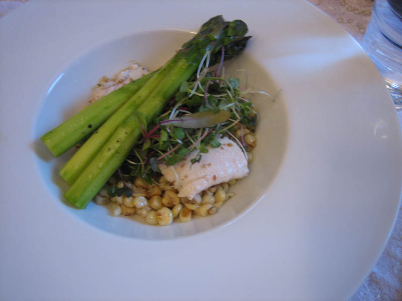 halibut on truffled corn with microgreens and asparagus