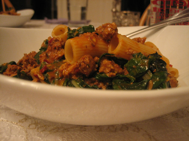 Rigatoni Pasta with Spicy Sausage & Chard