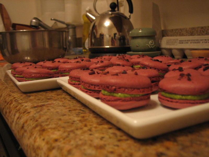 red velvet macarons with green tea buttercream  filling