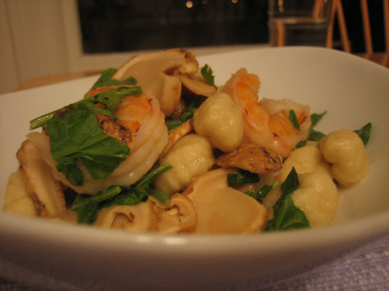 matsutake gnocci with watercress