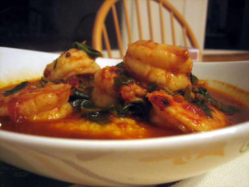 home made gourmet shrimp and grits with chard
