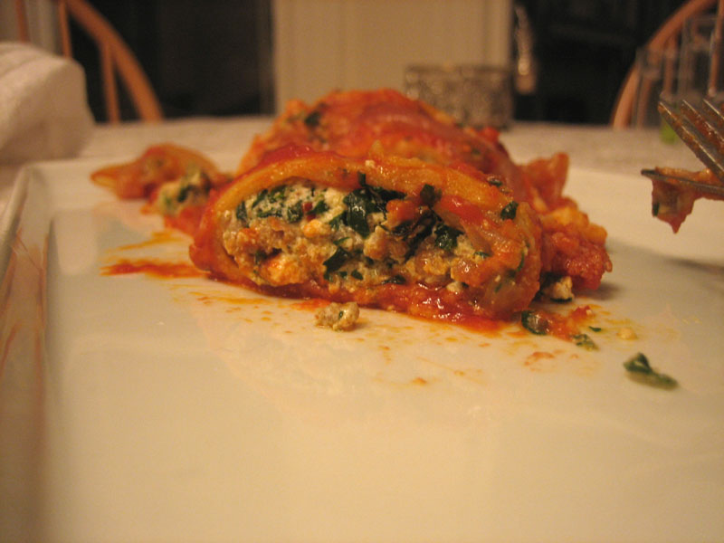 cannelloni with ricotta, chard, and sausage