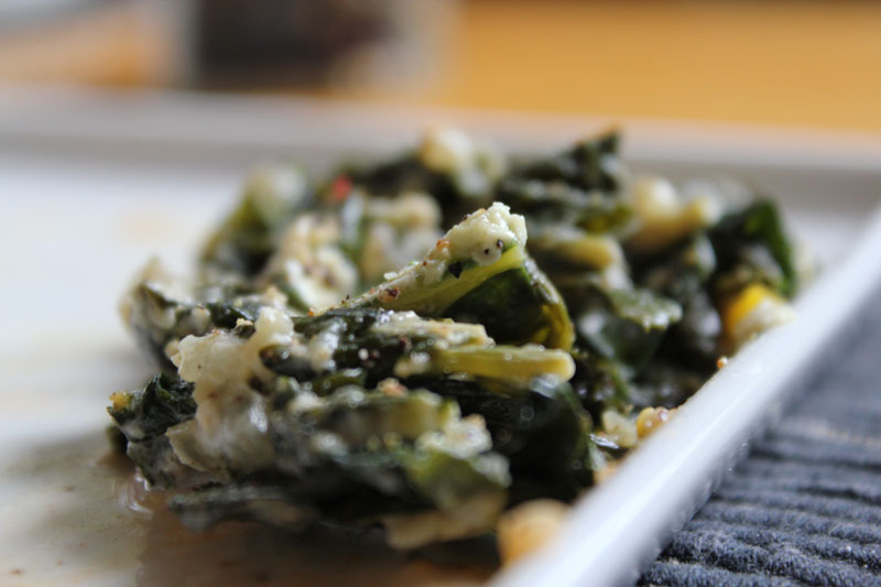 eggs baked in collard greens