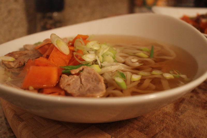 "udon noodles with pork tenderloin and sweet potatoes ""moon viewing noodles"""