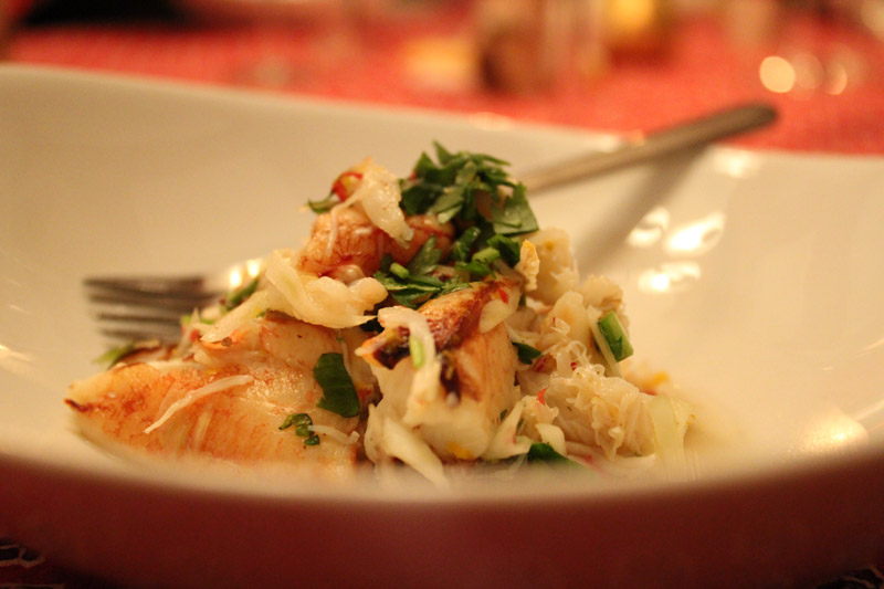 crab salad with yuzu, pink peppercorns, arugula