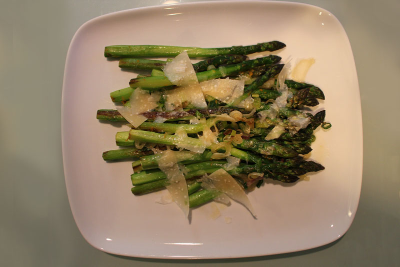 Asparagus with Spring Onions, Orange Zest, and Parmesan