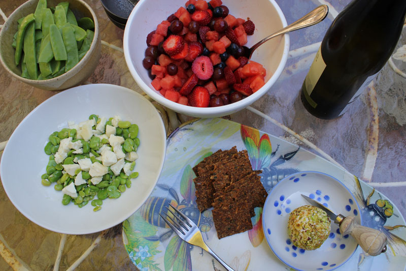 Backyard feast with pecorino and fava beans, rosewater fruit salad, mexican chia crackers, and raw macadamia nut cheese rolled in pistachios