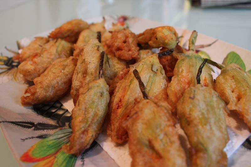 Piled Bubbly Fried Squash Blossoms