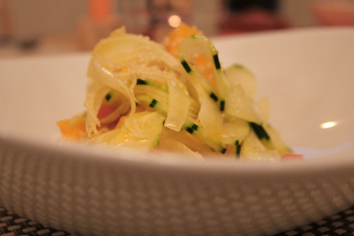 raw mango, fennel, and cucumber summer salad