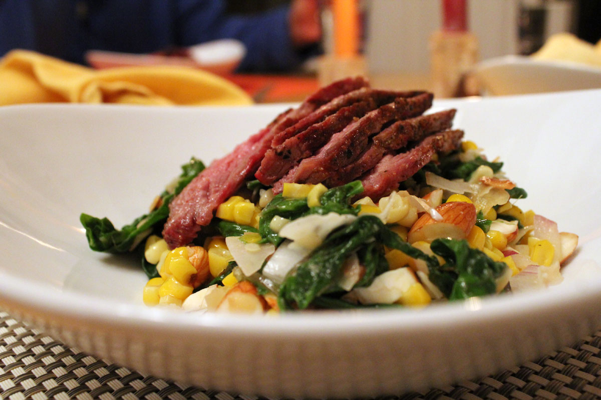 tritip on coconut corn salad