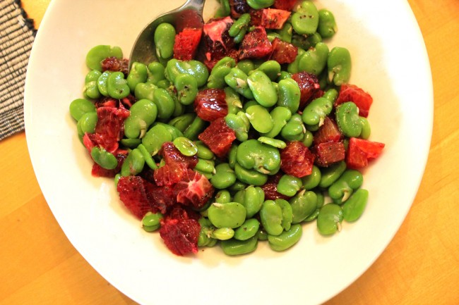 Fava Bean & Blood Orange Salad with Ricotta Salata