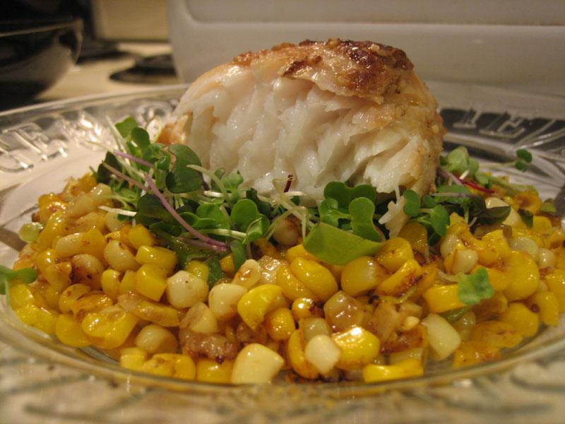 Halibut on hazelnut gomashi corn