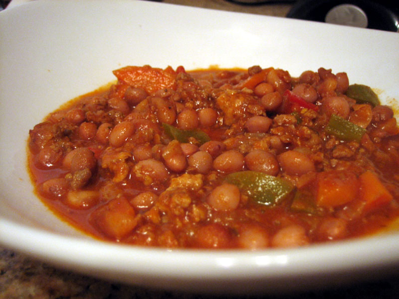 home made chili with rancho gordo heirloom beans