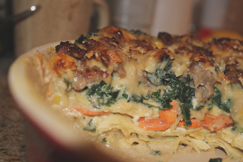 white lasagne with sausage, kale, sweet potatoes & leeks