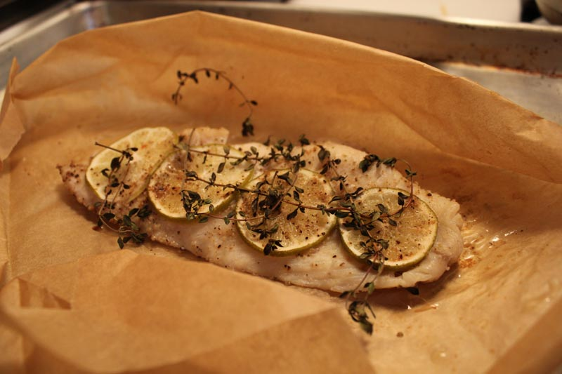 red snapper en papillote with lime & thyme