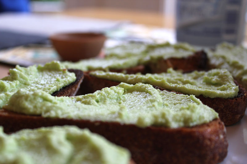 crostini with green garlic, fava bean and chevre spread