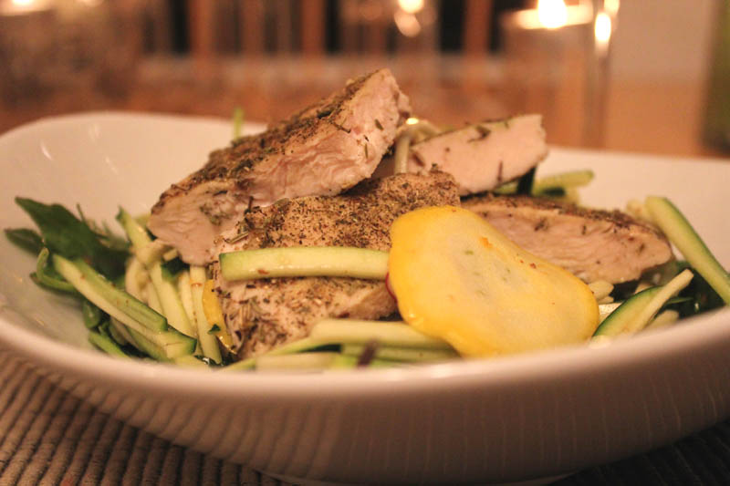 Lavender Grilled Chicken on Raw Summer Vegetables