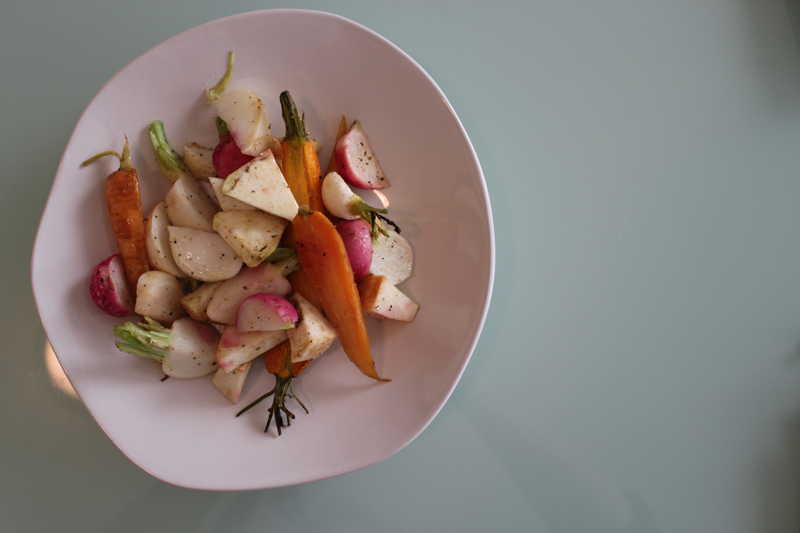Roasted Spring Root Vegetables: Baby Carrots, Turnips, Easter Egg Radishes, Golden Beets, Rutabaga