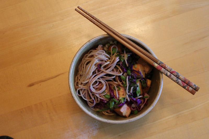 Ginger Scallion Soba Noodles with Crisp Tofu & Red Cabbage